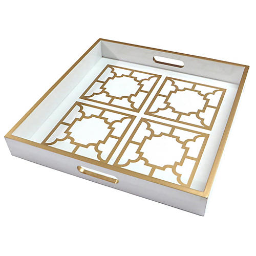 "18"" Manette Decorative Tray, Ivory/Gold"