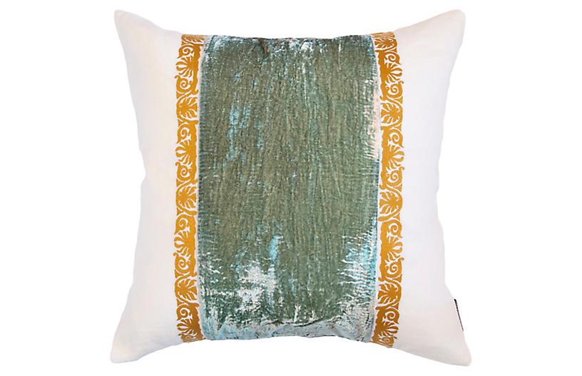 Francesca 22x22 Pillow, Seafoam Velvet