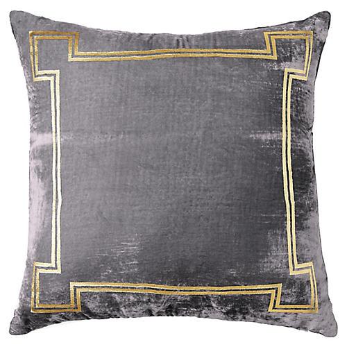 Aria 24x24 Pillow, Gray/Gold