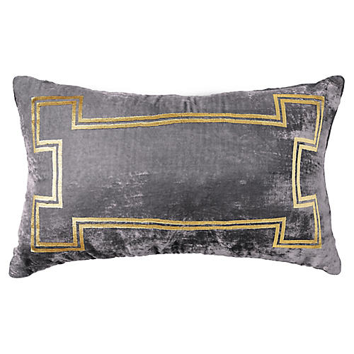Aria 14x22 Lumbar Pillow, Gray/Gold