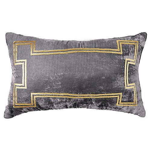Aria 14x22 Lumbar Pillow, Gray/Gold
