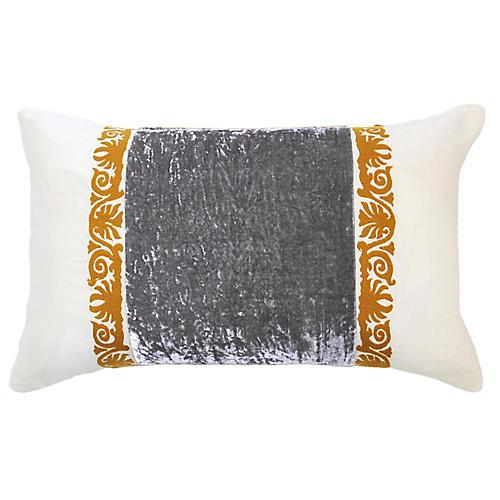 Francesca 14x22 Lumbar Pillow, Gray Velvet