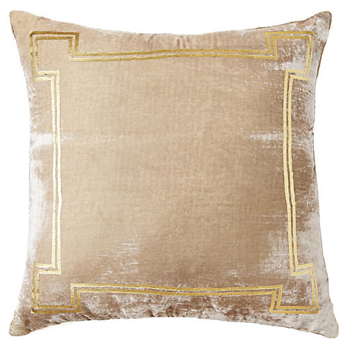 Aria 24x24 Pillow, Taupe/Gold
