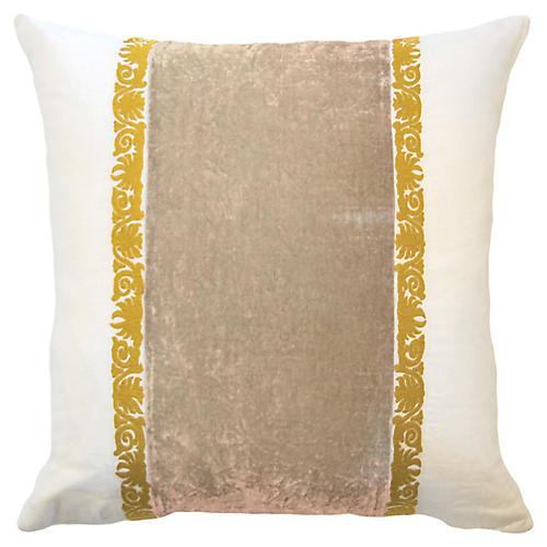 Francesca 22x22 Pillow, Taupe Velvet