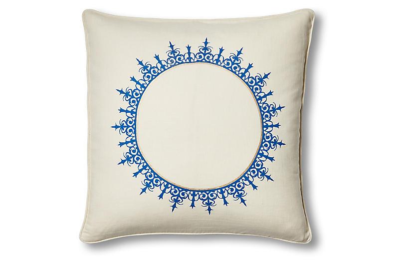 Casablanca Burst 20x20 Pillow, Ivory Linen