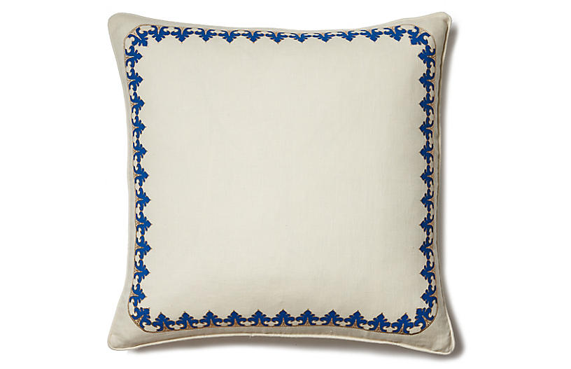 Marrakech Safi 22x22 Pillow, Ivory Linen