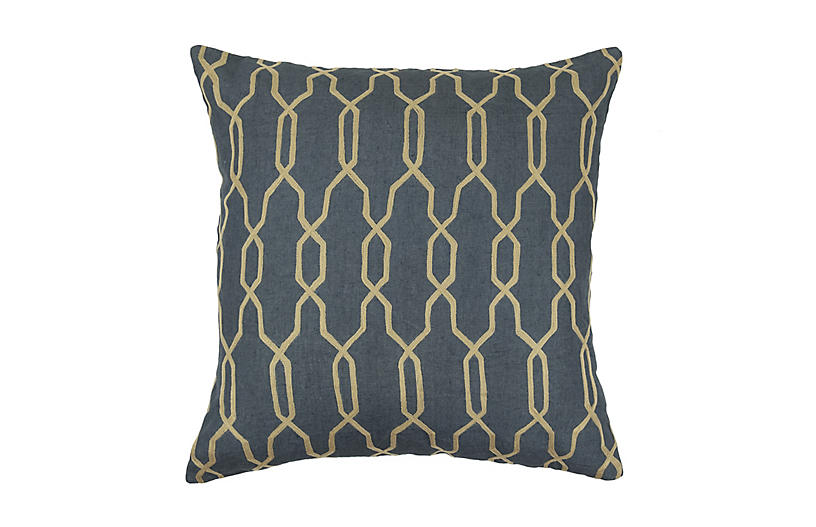 Embroidered Chain 22x22 Pillow, Gray