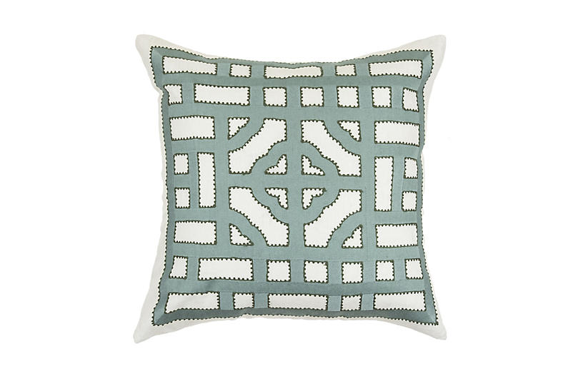 Embroidered Linen Pillow, Olive
