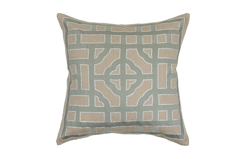 Embroidered Geo 22x22 Pillow, Gray