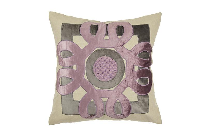 Applique 22x22 Pillow, Lilac