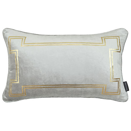Aria 14x22 Lumbar Pillow, Light Gray Velvet