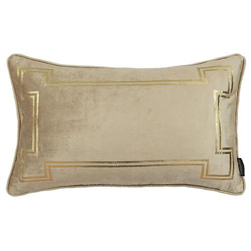 Aria 14x22 Lumbar Pillow, Taupe Velvet