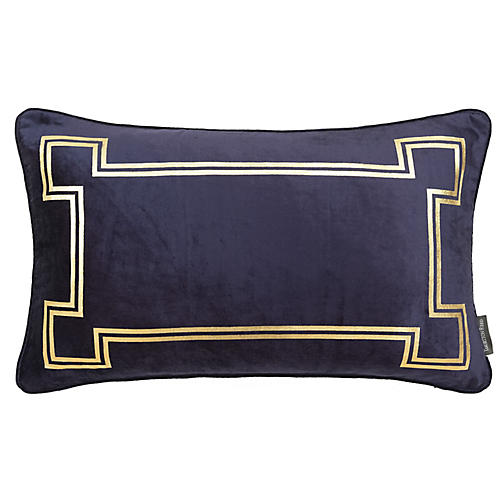 Aria 14x22 Lumbar Pillow, Blue Velvet