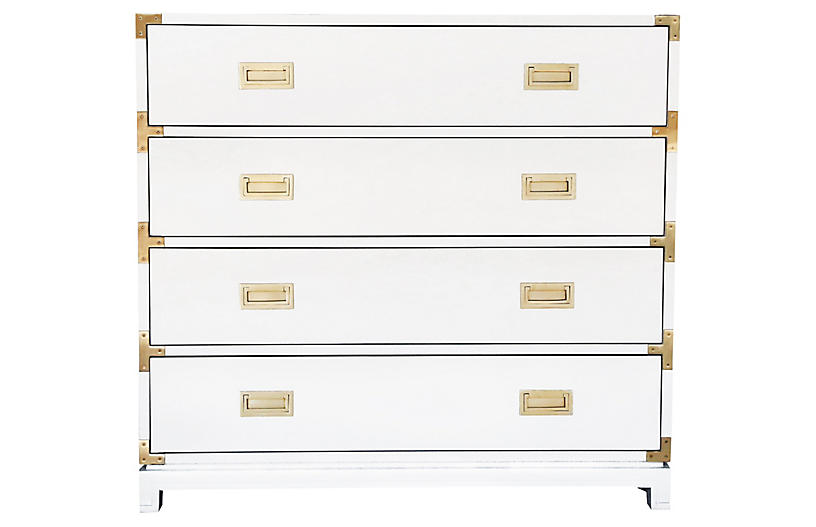 Carlyle 4-Drawer Campaign Dresser, White