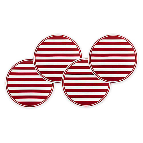 S/4 Beach Stripe Serving Plates, Red/White
