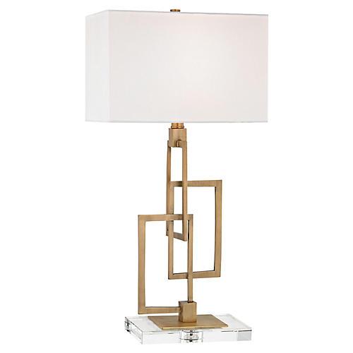 Rowan Crystal Table Lamp, Antiqued Brass