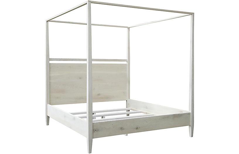 Reclaimed Oak Modern 4-Poster Bed, Washed Oak
