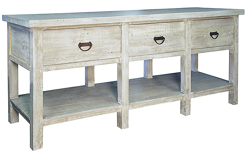 Reclaimed 3-Drawer Console, Graywash