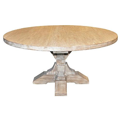 Pedestal Dining Table, Graywash