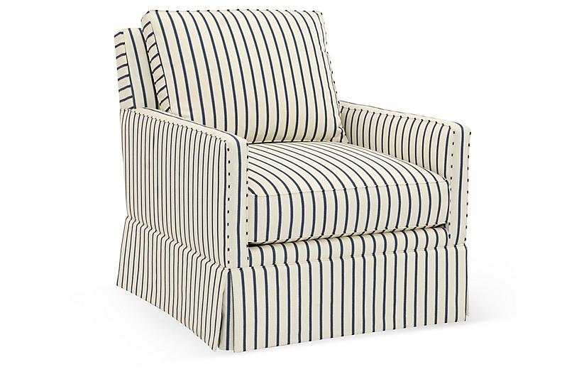 Auburn Club Chair, Cream/Blue Stripe