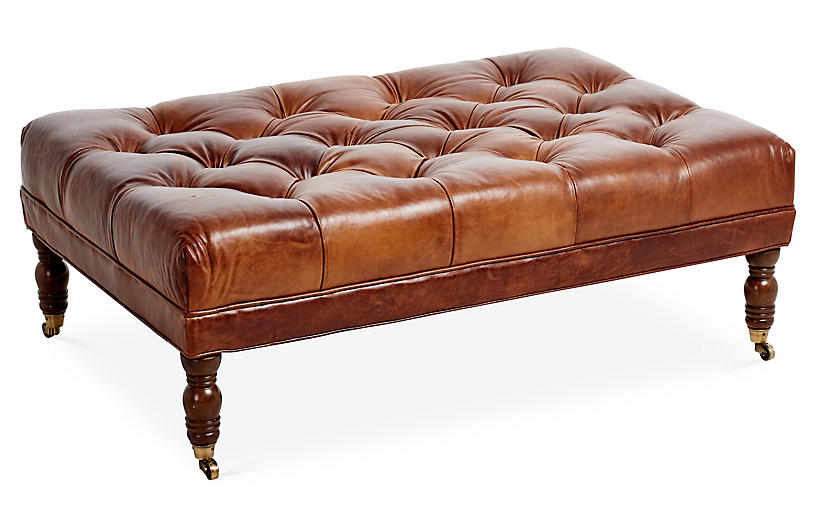 Anna Cocktail Ottoman, Caramel Leather