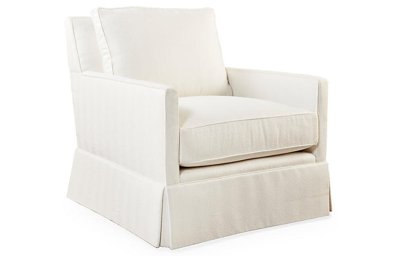 Auburn Club Chair, Ivory Crypton