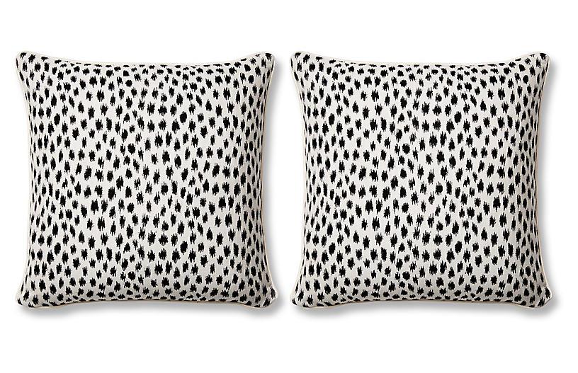 S/2 Agra Pillows, Black Sunbrella