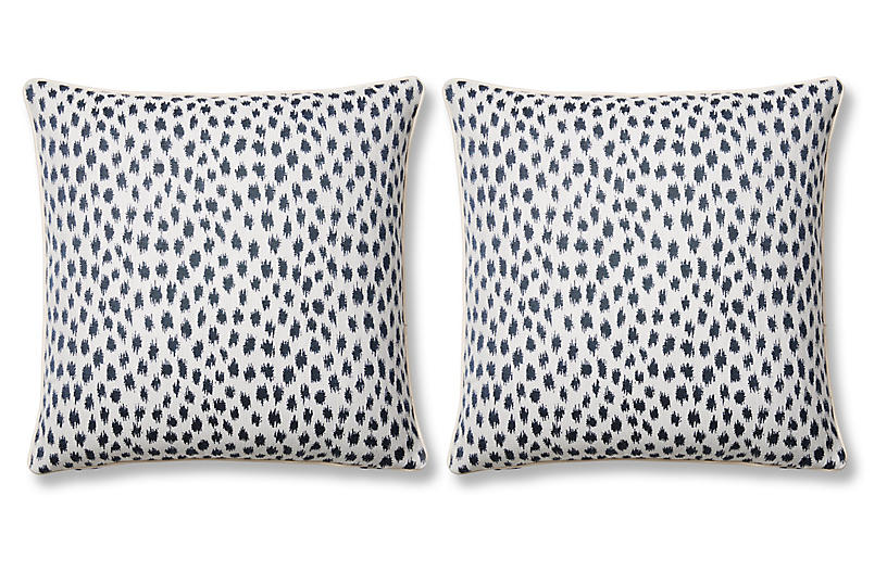 S/2 Agra Pillows, Indigo Sunbrella