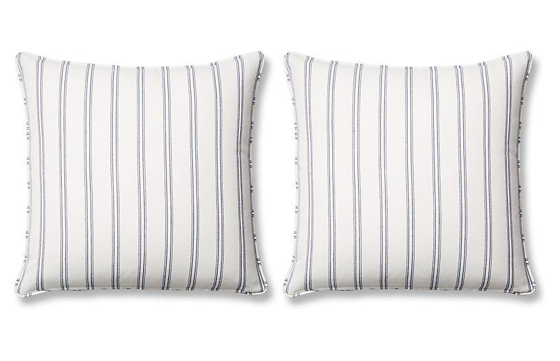 S/2 Espadrille Pillows, Blue Sunbrella