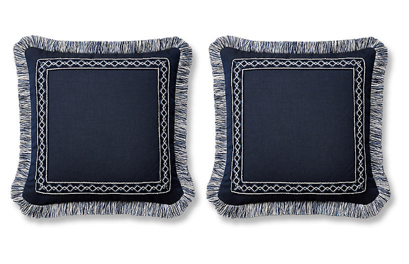 S/2 Meridia Pillows, Indigo Sunbrella