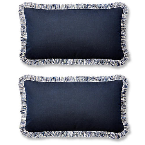 S/2 Meridia Lumbar Pillows, Indigo Sunbrella