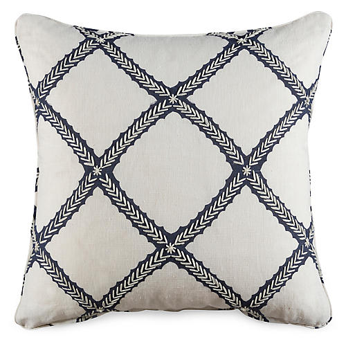 Majuli 19x19 Pillow, Navy Linen