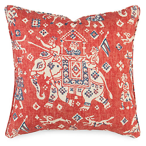 Aralm 19x19 Pillow, Flame Linen