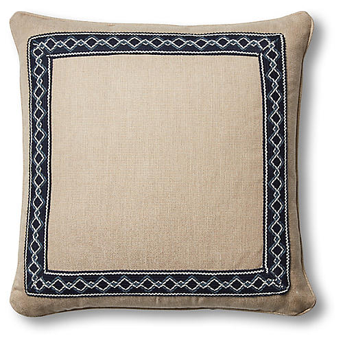 Colby 20x20 Pillow, Flax/Navy