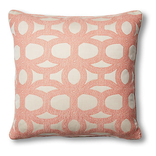 Avery 26x26 Floor Pillow, Coral/White