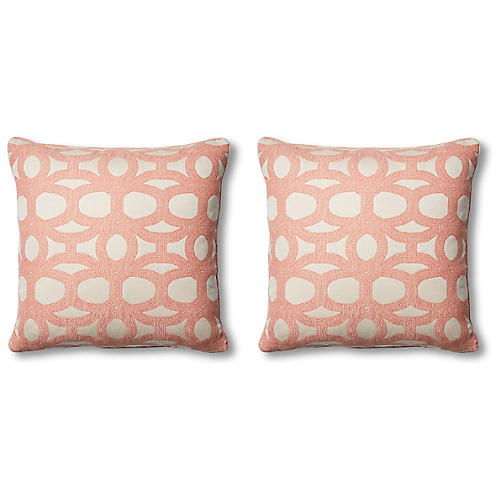 S/2 Avery Pillows, Coral/White
