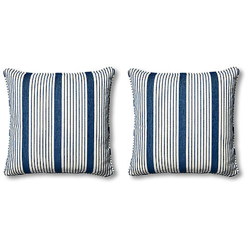 S/2 Bradley Pillows, Indigo/White