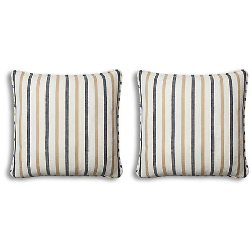 S/2 Newton Pillows, Cream/Navy