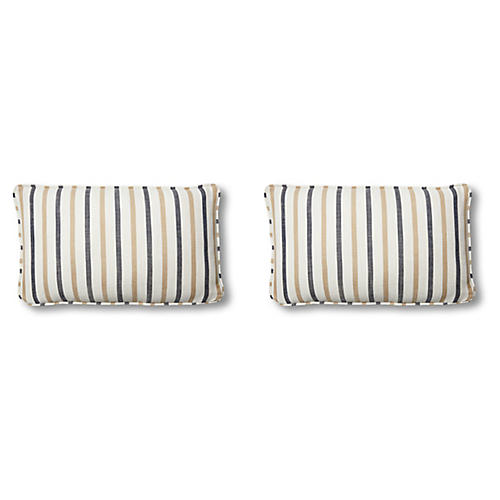 S/2 Newton Lumbar Pillows, Cream/Navy