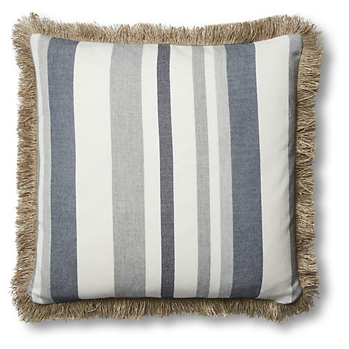 Tate 26x26 Floor Pillow, Denim/White Sunbrella