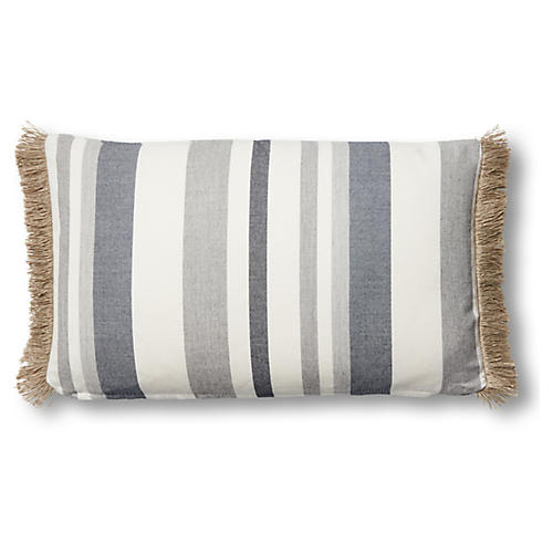 Tate 12x20 Lumbar Pillow, Denim/White Sunbrella