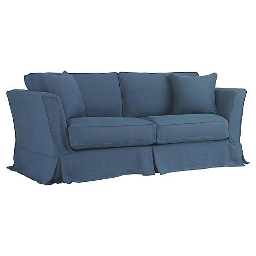 Loft Slipcovered Sofa, Indigo Linen
