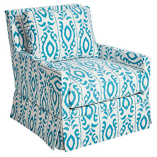Lilla Swivel Club Chair, Turquoise