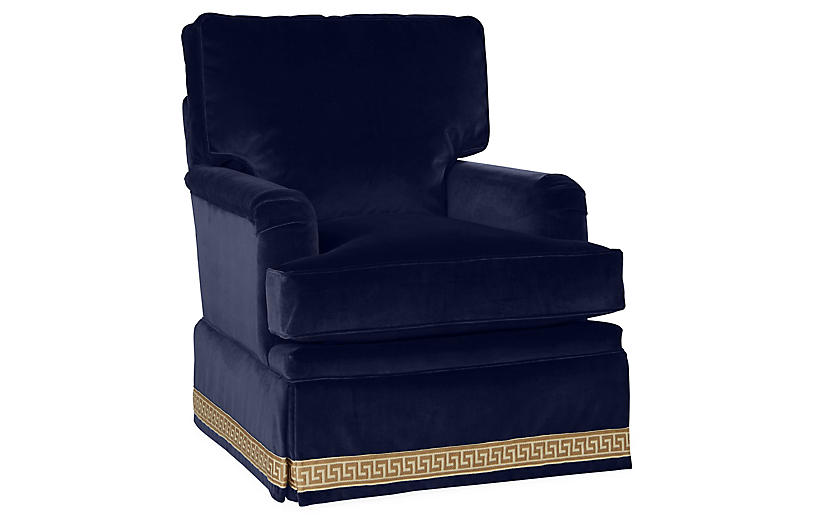 Winston Club Chair, Navy Velvet