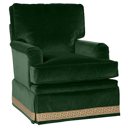 Winston Swivel Club Chair, Emerald Velvet