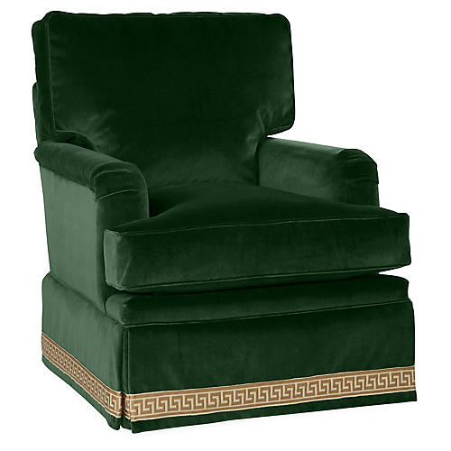 Winston Club Chair, Emerald Velvet