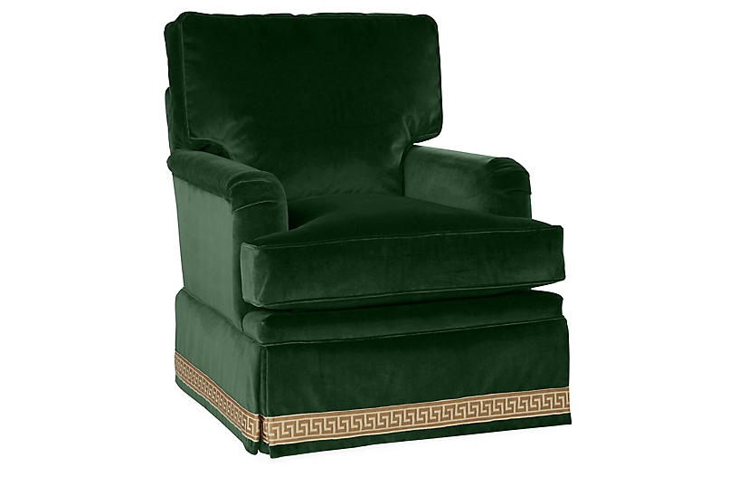 Winston Club Chair, Emerald Velvet