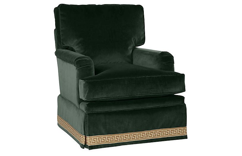 Winston Club Chair, Forest Velvet