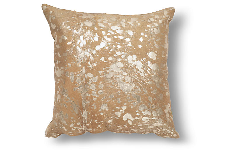 Shimmer Pillow, Beige/Gold