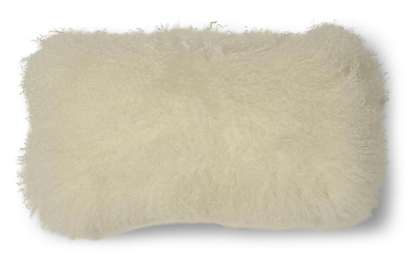 Tibetan 10x20 Lumbar Pillow, Cream